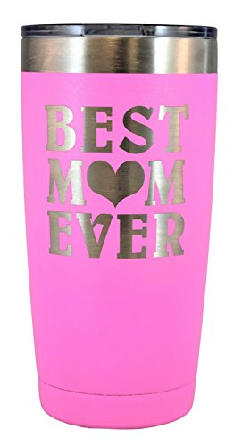 MOM GIFT – Engraved BEST MOM EVER Stainless Steel Polar Camel Tumbler 20 oz Vacuum Insulated Large Travel Coffee Mug Hot & Cold Drinks Birthday Christmas Mothers Day Beach Pool Party (Pink)