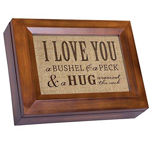 I Love You A Bushel & A Peck Wood Finish Jewelry Music Box – Plays Tune You Are My Sunshine