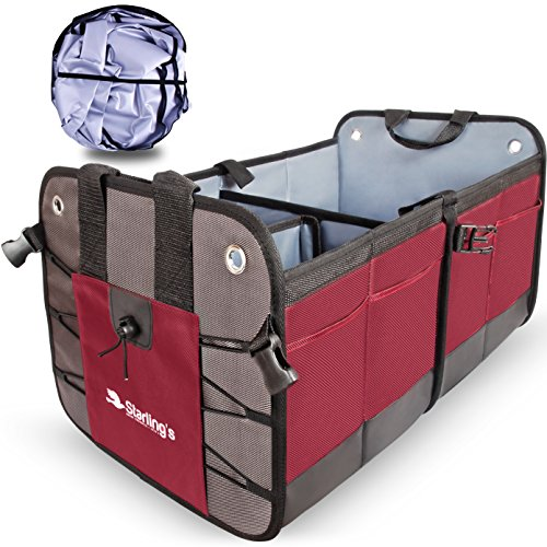 Car Trunk Organizer By Starling's:Eco-Friendly Premium Cargo Storage Container, for SUV, Truck, Auto, Vehicle. Heavy Duty Construction W/ Car Sunshade