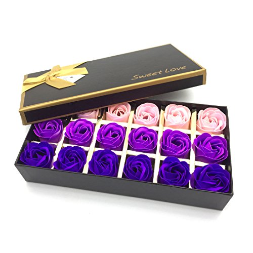 Floral Scented Bath Soap Rose Flower Petals,JIALEEY Plant Essential Oil Rose Soap Set Guest Soap shaped Petals Best Gifts Ideas for Her Women Teens Girls Mom Birthdays, 18 PCS Purple